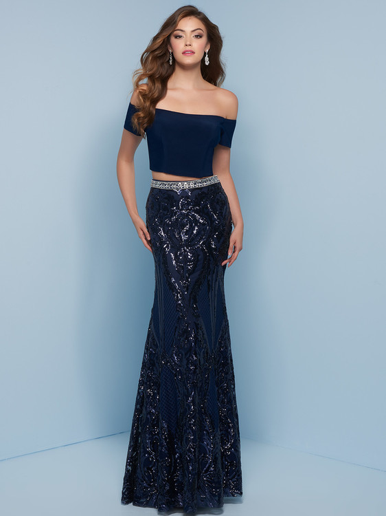 navy two piece prom dress with jersey body and sequin skirt Splash j820