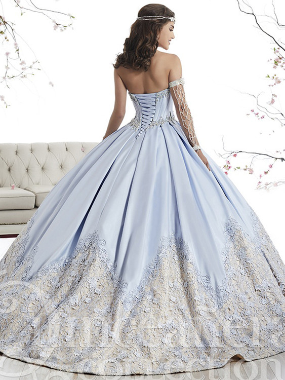 9eeb53aee4d ... Blue quince dress with satin plain skirt embellished with must-see lace  hem  Sweetheart Ball Gown Tiffany Quinceanera ...