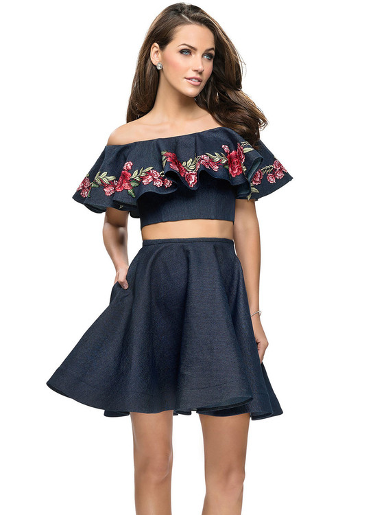 Two Piece Off The Shoulder La Femme Short Dress 26627