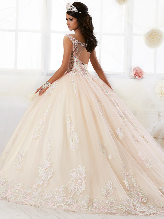 Bateau Illusion Neckline Tiffany Quinceanera Dress 26895