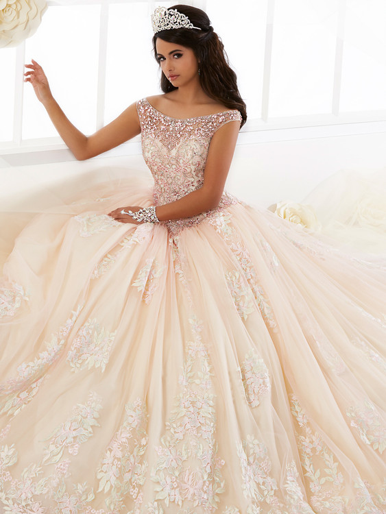 Bateau Illusion Neckline Quinceanera Collection Ball Gown Dress 26895