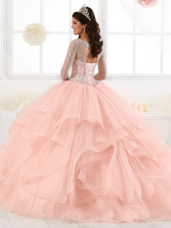 01334220c75 Illusion Bateau Neckline Quinceanera Collection Long Sleeved Dress 26904 ...