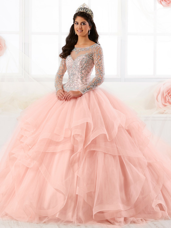 Illusion Bateau Neckline Tiffany Quinceanera Long Sleeved Ball Gown Dress 26904
