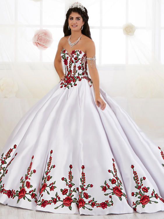 Sweetheart Floral Embroidered Quinceanera Collection Dress 26908