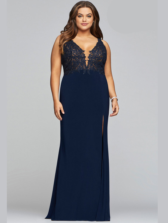 faviana v-neck jersey prom dress 9463 with slit