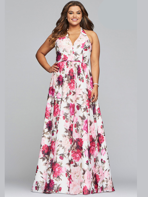 faviana floral chiffon prom dress 9468 with lace up back