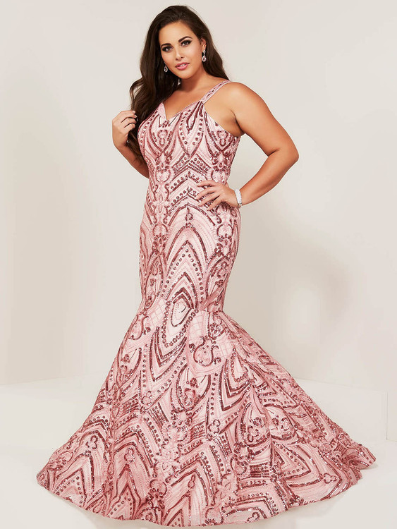 v-neck mermaid plus size prom dress tiffany designs 16376