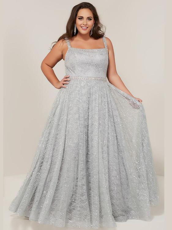 Square Neckline A Line Tiffany Designs 16381 Plus Size Prom Dress
