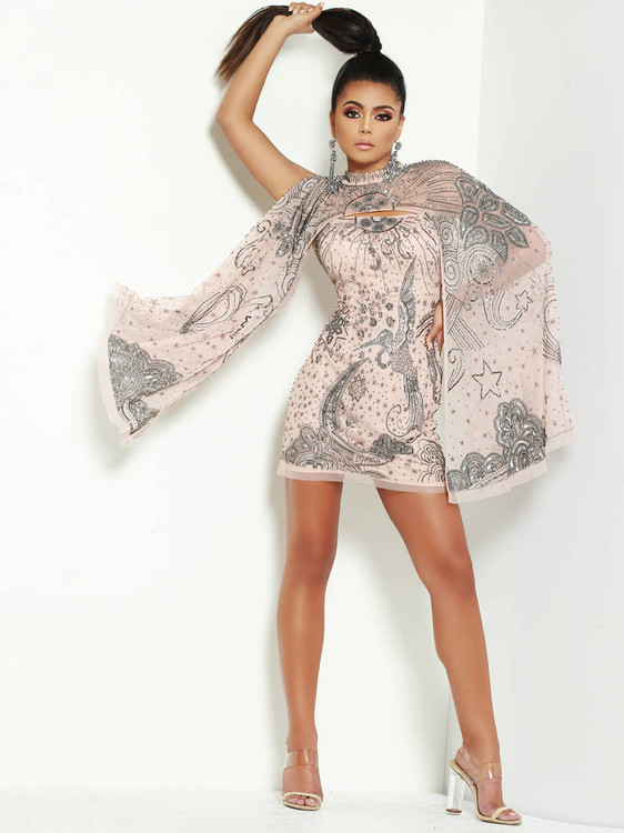 short with cape lush by jasz couture prom dress 1499
