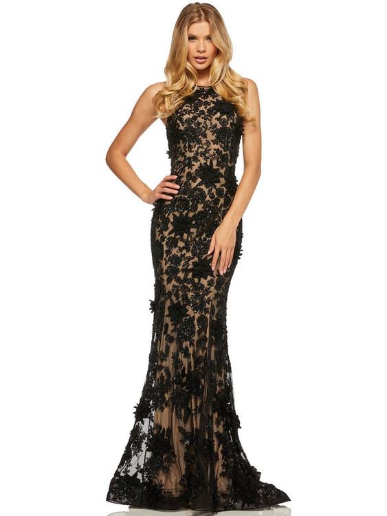 high neckline sherri hill prom dress 52778