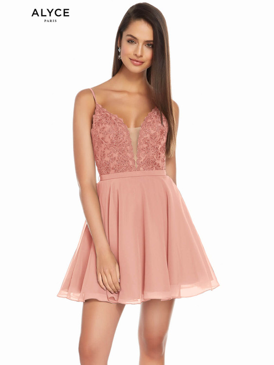rosewood plunging neckline alyce short party dress 3832