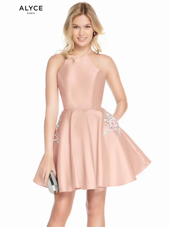 high neckline alyce short party dress 3887