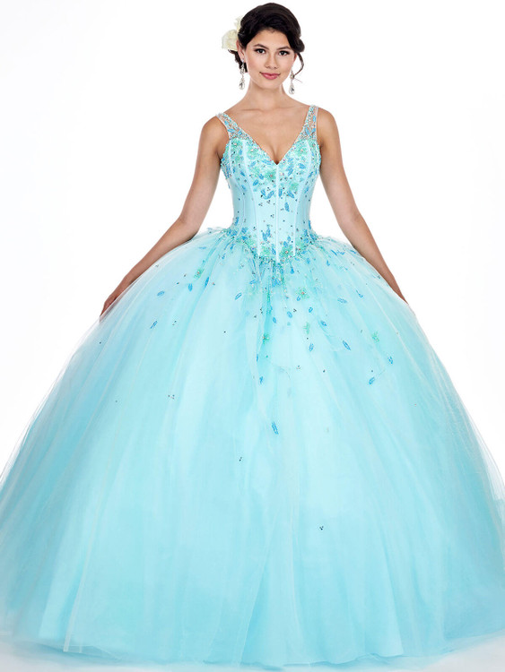 v-neck mary's quinceanera ball gown MQ2052