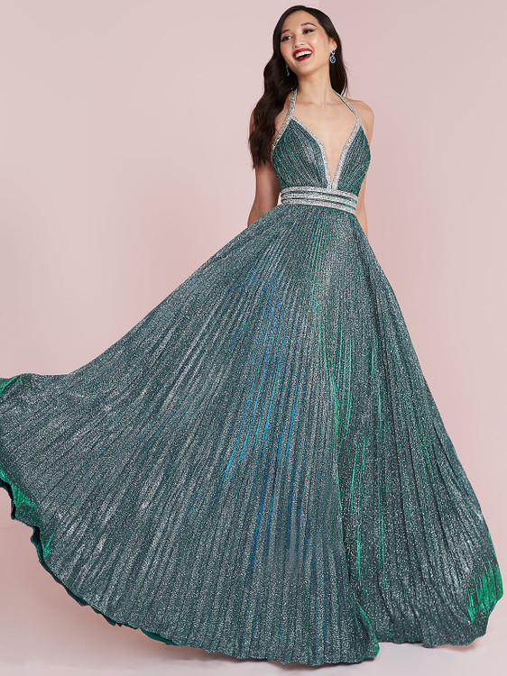 emerald silver a-line prom dress panoply 14001