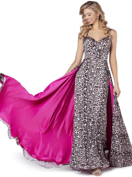 satin animal print blush prom dress 11915