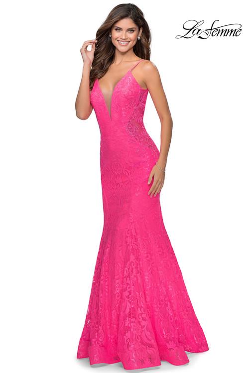 Trumpet Lace Prom Dress La Femme 28355