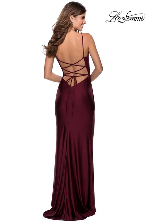 Fitted Jersey Prom Dress La Femme 28421