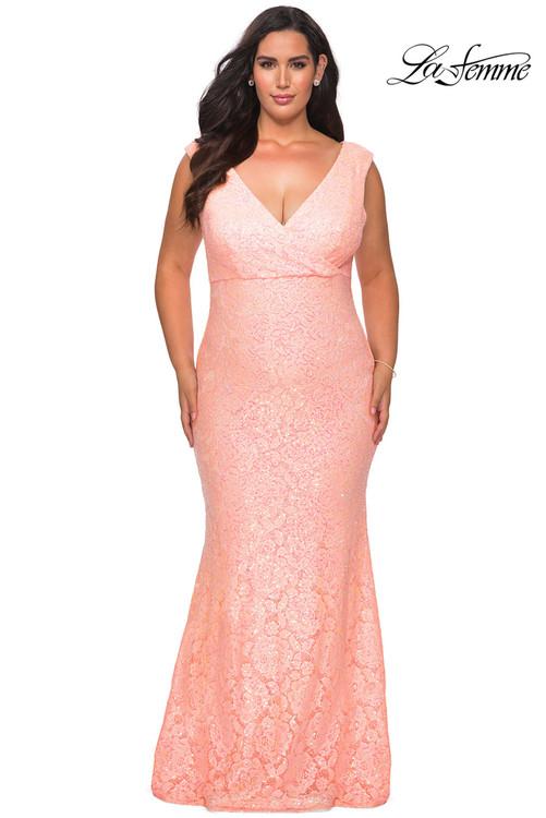 V-neck La Femme Plus Size Prom Dress 28837