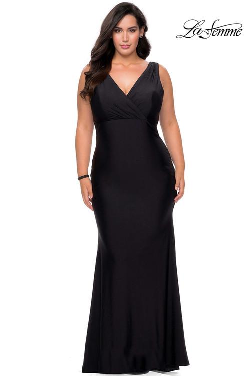 V-neck La Femme Plus Size Prom Dress 29016