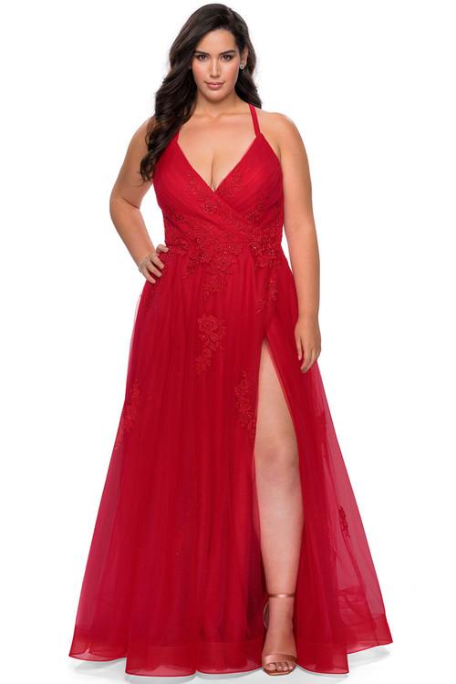 v-neck la femme plus size prom dress 29021