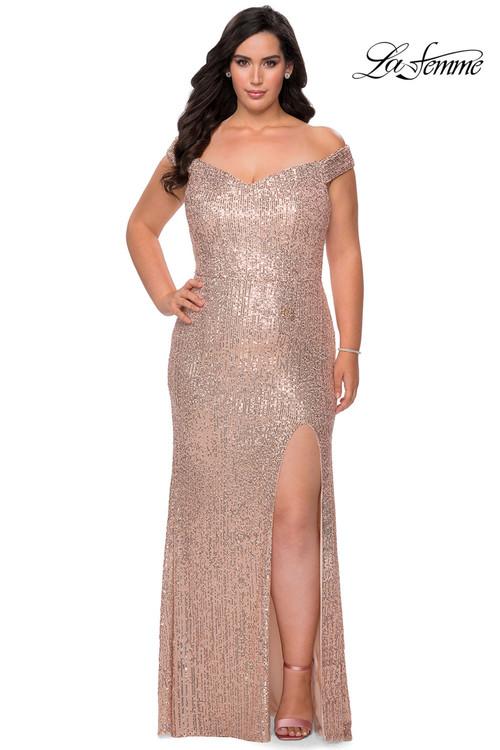 Off The Shoulder La Femme Plus Size Prom Dress 29023