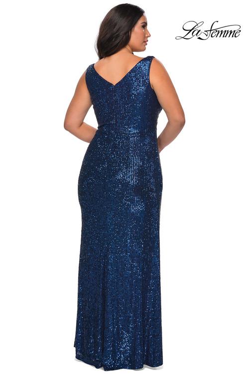 V-neck Plus Size Prom Dress La Femme 29046