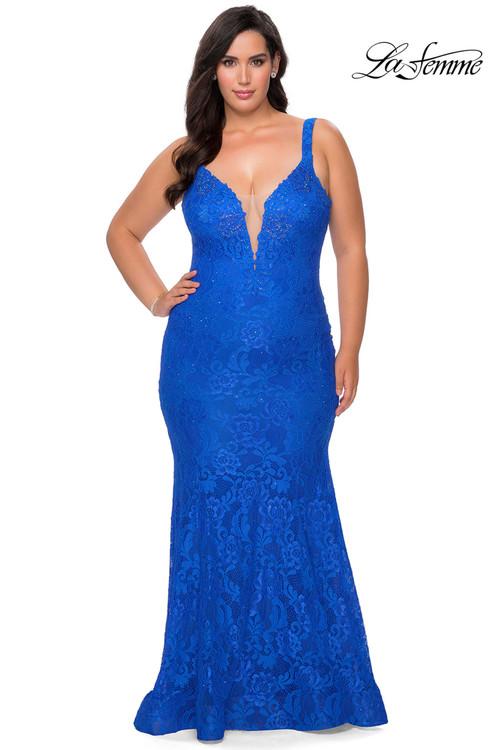 V-neck Plus Size Prom Dress La Femme 29052
