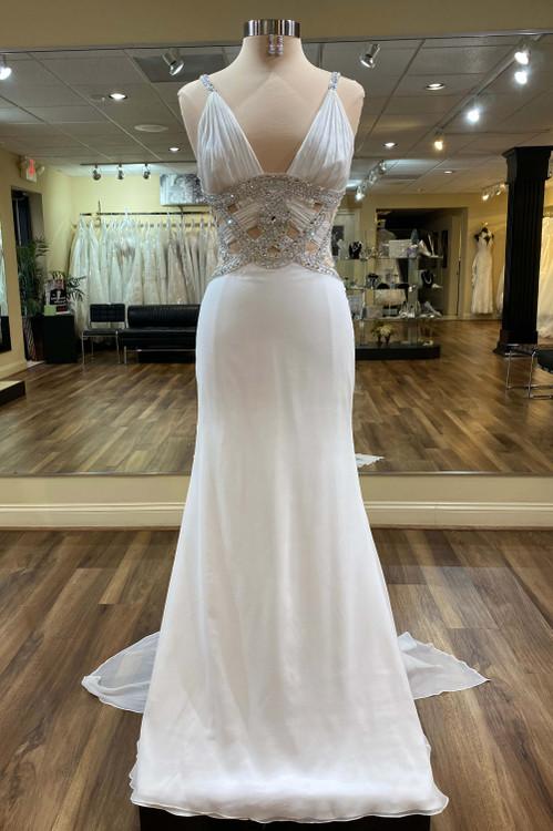 white chiffon Grecian style evening dress