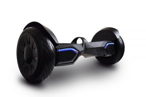 "Heavy Duty Carbon Matte Black 10"" Hoverboard Canada - Black Color with Inflatable tires and Bluetooth speakers, App Connection and free Carrying Bag."