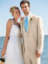 tan tuxedo beach wedding
