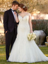 Ivory Fit And Flare plus size wedding gown Essense D2434