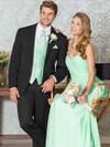 groomsmen tuxedo black slim fit matching color with bridesmaids dresses