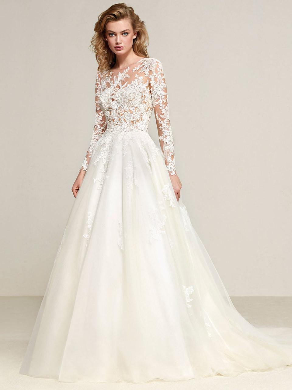 6ad5398598 Pronovias Long sleeves Drizana Wedding Dress - DimitraDesigns.com
