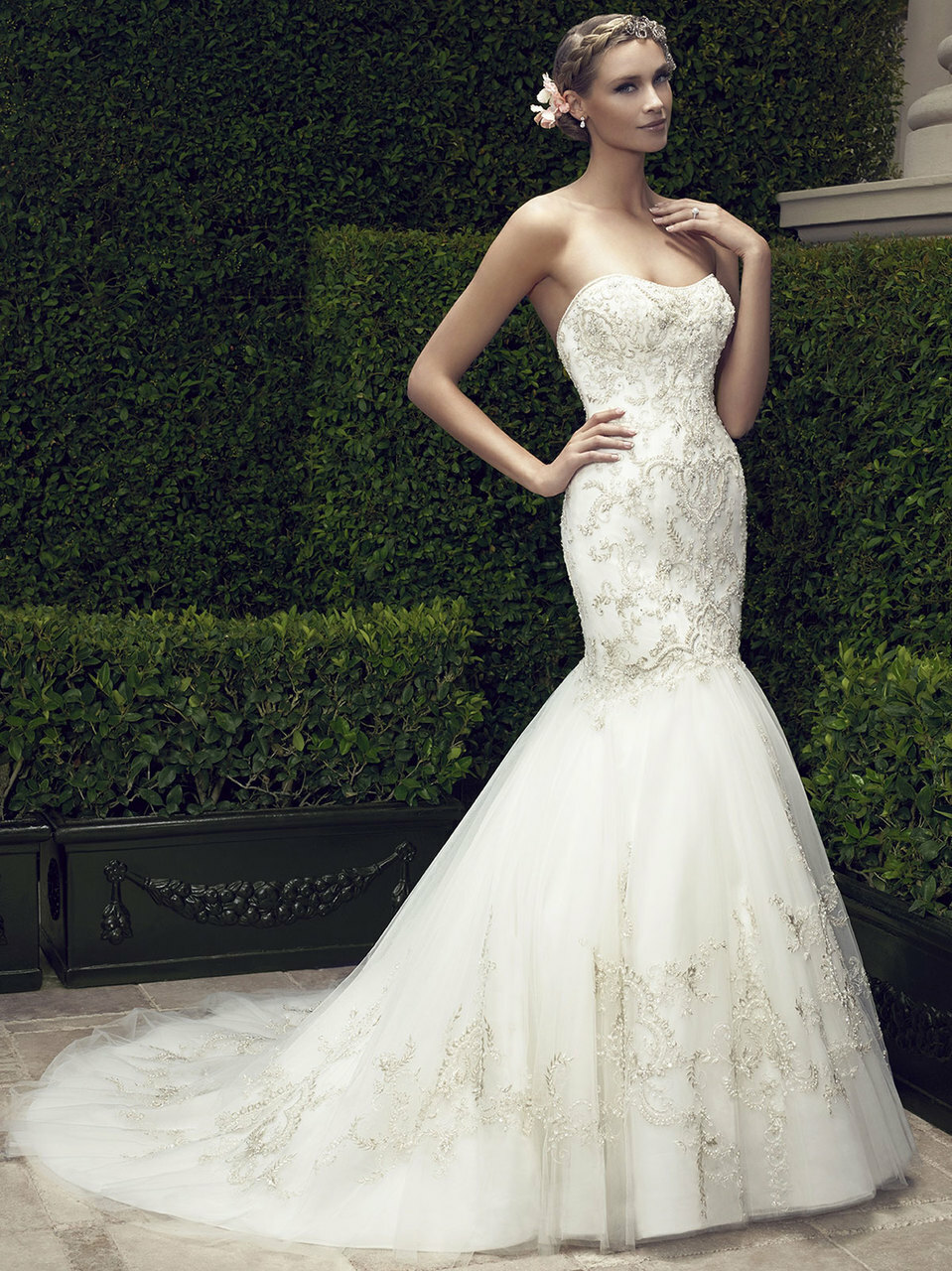 Casablanca Mermaid Wedding Dresses with Bling
