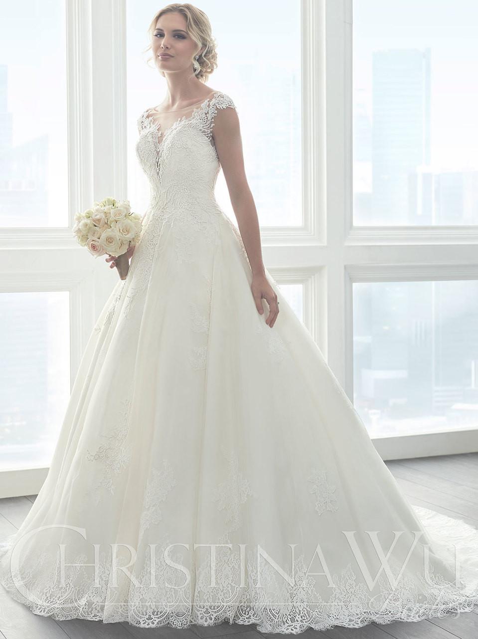 ead0866e2461 Christina Wu 15626 Illusion Neckline A-line Wedding Dress ...