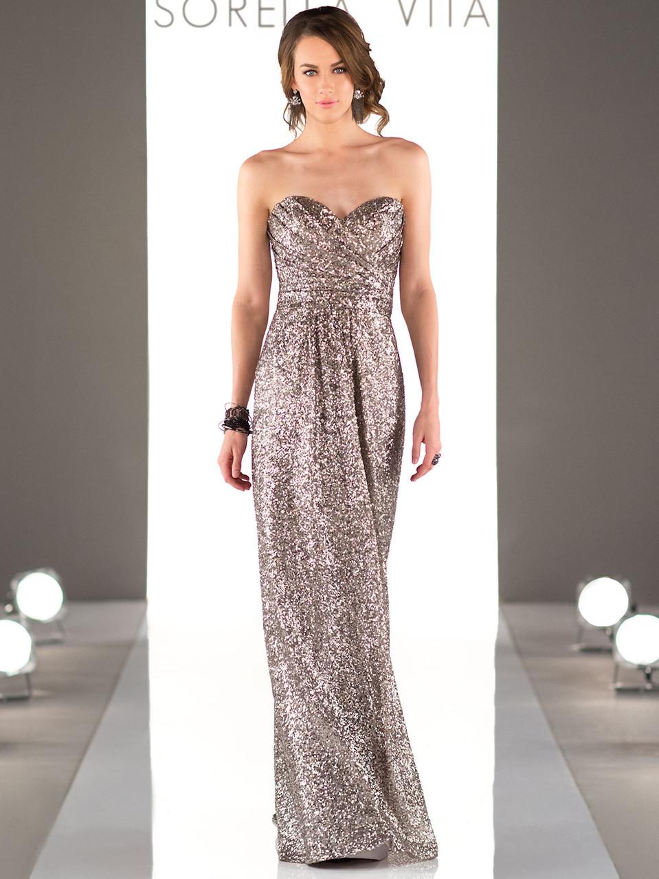 8746726b Sorella Vita 8834 Sequin Floor Length Bridesmaid Dress ...