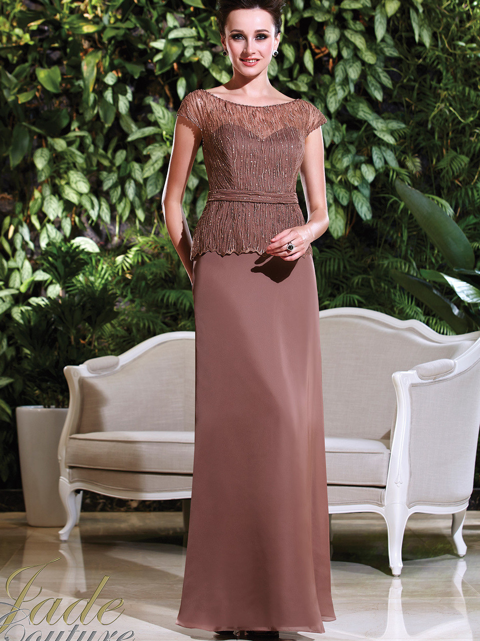 fd9f19e2e45 Cap Sleeves Beaded Mother Of The Bride Dress Jade Couture K168016