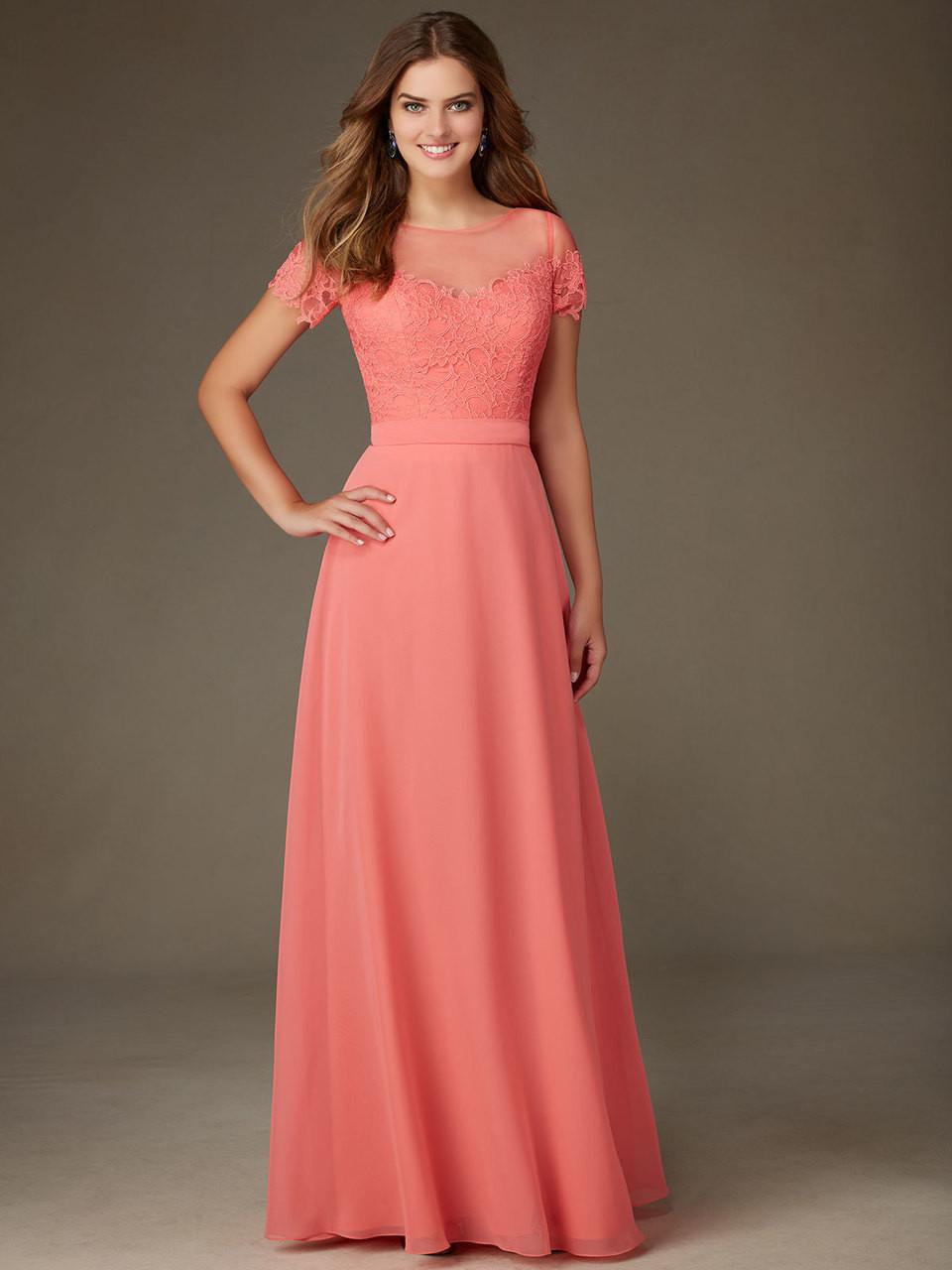 5c74858fae2 Mori Lee 124 Short Sleeves Chiffon A-line Bridesmaid Dress - Dimitra ...