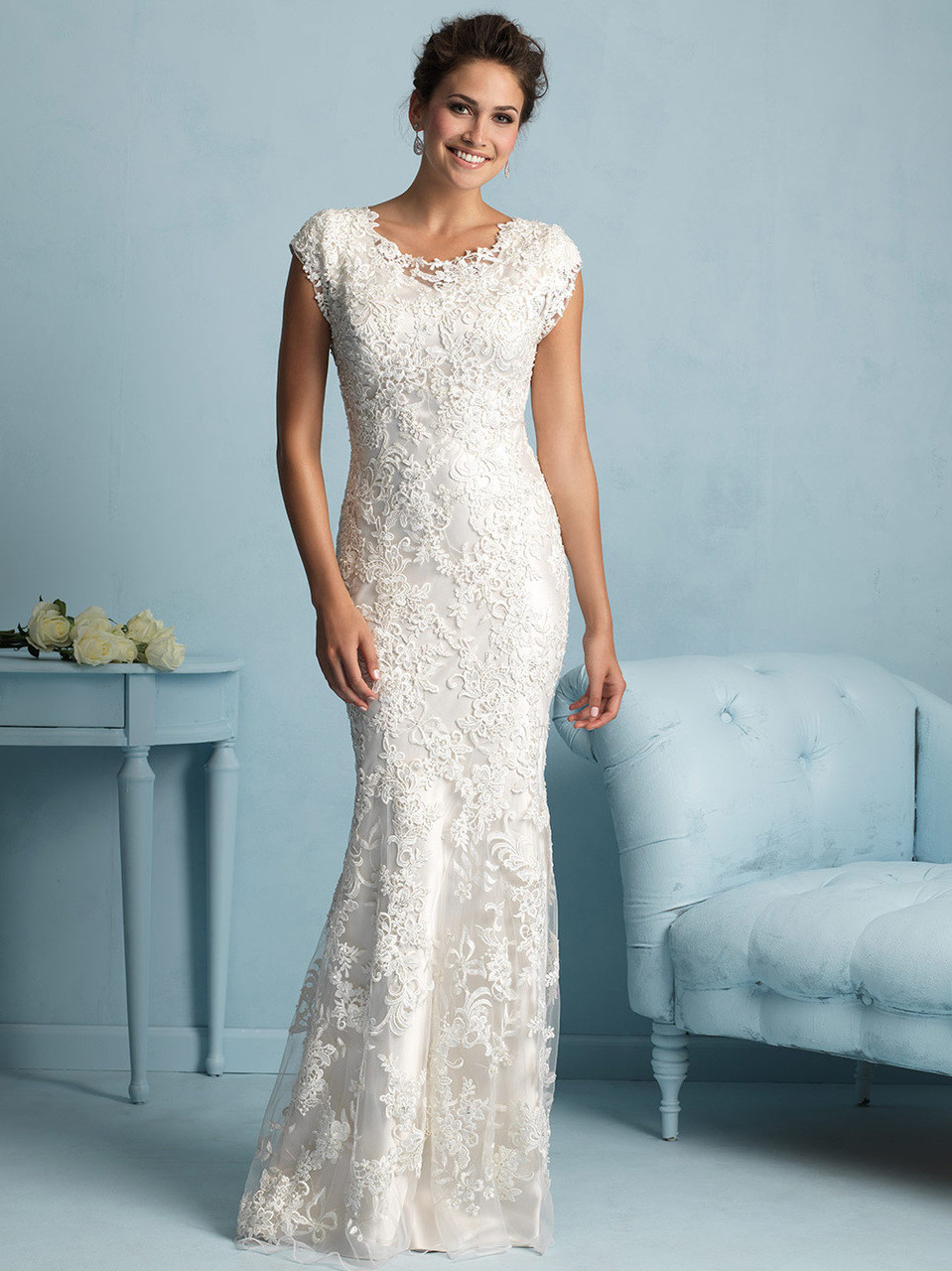 Formfitting Lace Allure Modest Wedding Dress M536: Teal Wedding Dresses S At Websimilar.org