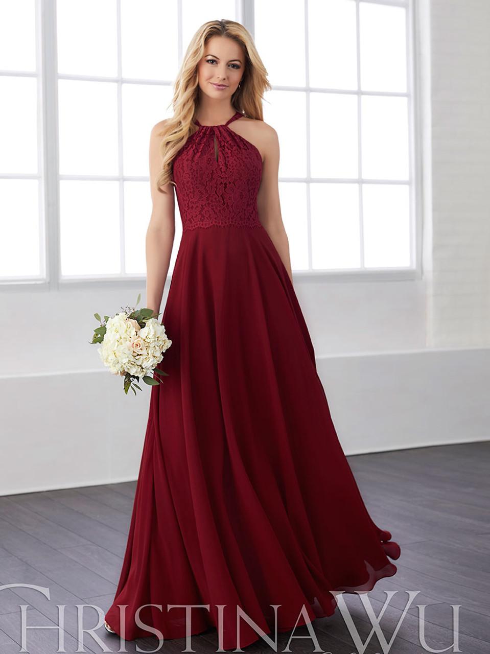 dc6fda49be4 Halter bridesmaid dress Christina Wu 22820