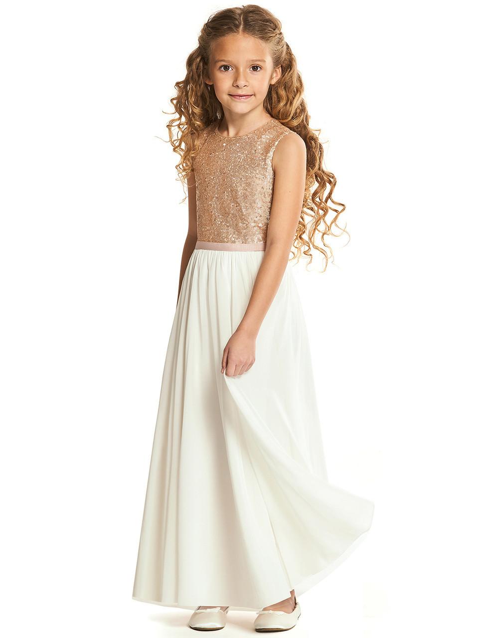 32c9934dc7ce Sequin Ivory Skirt Dessy Flower Girls Dress FL4061 | Dimitra Designs