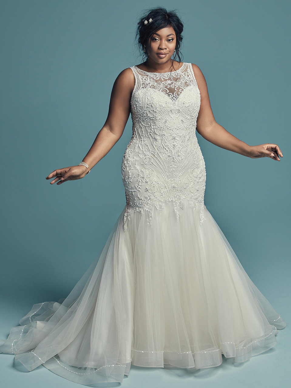 441f3c5ecaba Fit And Flare plus size wedding gown Maggie Sottero Ariella Marie