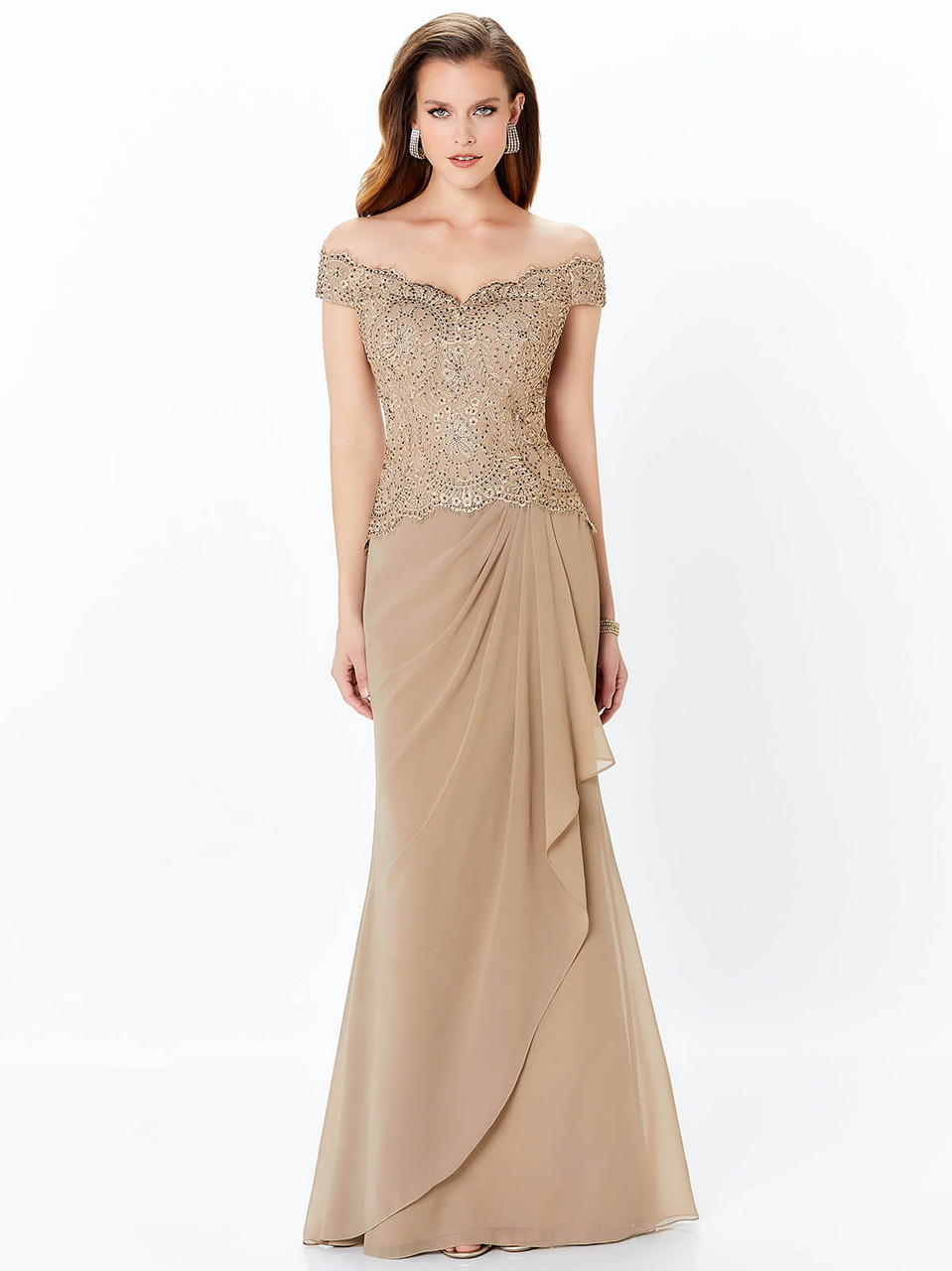 4bef982b327 Off The Shoulder Mother of the Bride dress Montage 116937