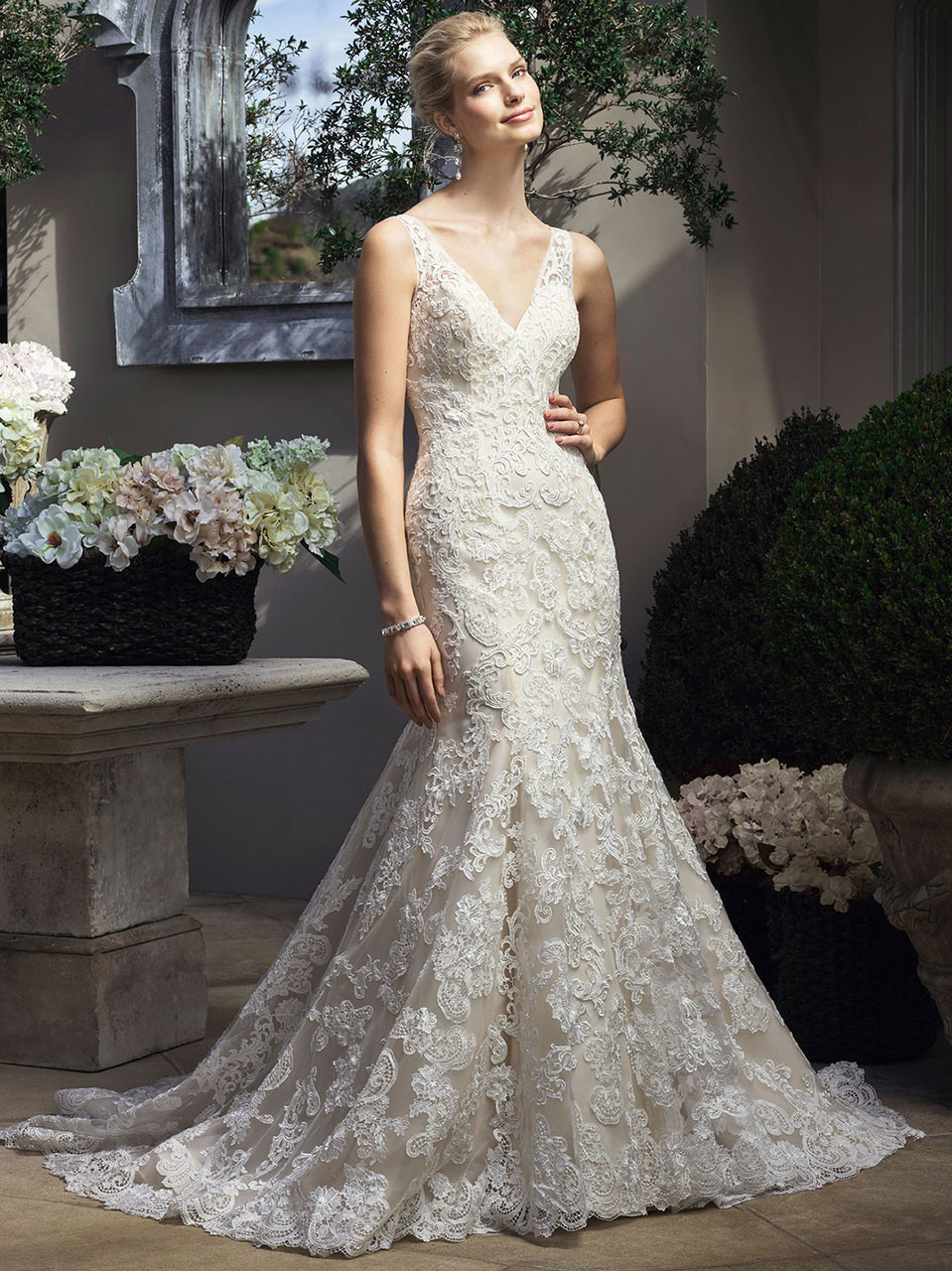 f020baae879 Illusion Lace Tank Wedding Dress With Tulle Skirt - Gomes Weine AG