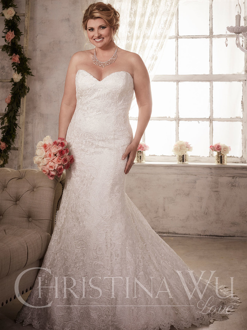Christina Wu Love 29279 Sweetheart Lace Trumpet Bridal Dress Dimitradesigns Com