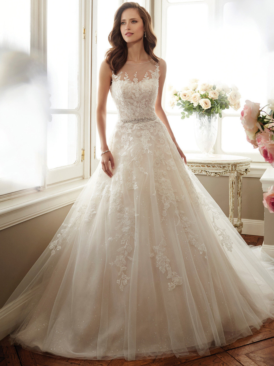 b1f71eca780 Sophia Tolli Y11719 Illusion Bateau Neckline Monte Bridal Dress ...