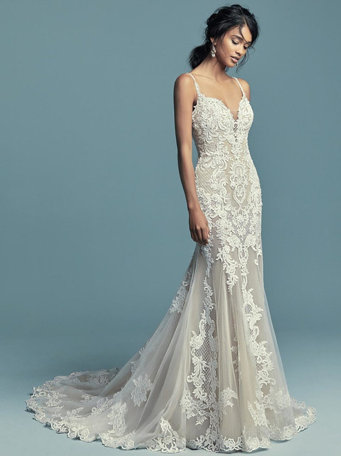 b6672894728a Plunging Sweetheart wedding gown Maggie Sottero Abbie Marie
