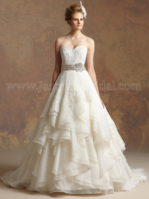 57dd00472f72 ivory sweetheart strapless wedding gown with layered skirt by jasmine  couture t152009