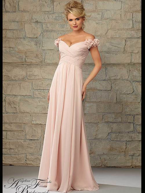Off The Shoulder Ruched Floor Length Morilee Bridesmaid Dress 20453