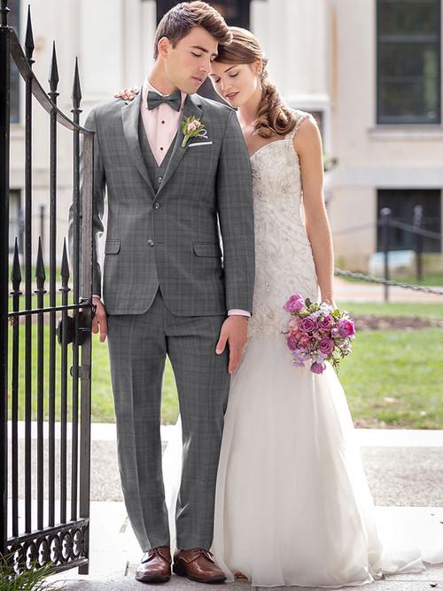 Ike Behar Grey Plaid Hamilton Wedding Tuxedo